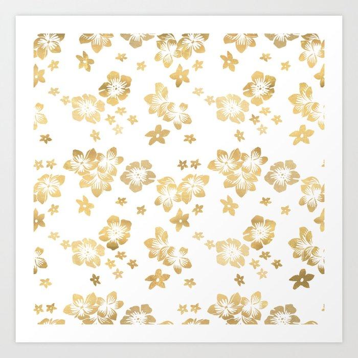 Gold Tropical Flowers Art Print