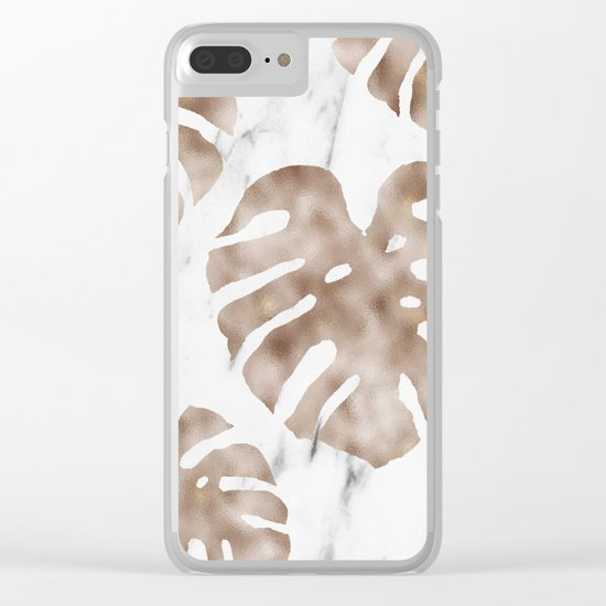 Rose gold monstera on white marble Clear iPhone Case