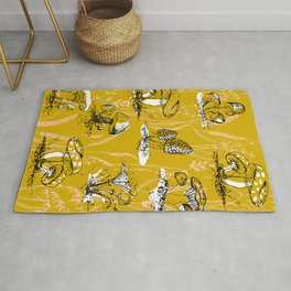 outside in the forest: mushrooms and grasses Rug