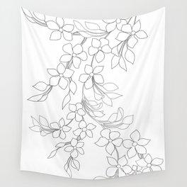 Minimal Wild Roses Line Art Wall Tapestry