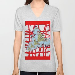 RED-WHITE MOTHS  IN SYNCHRONIZED FLIGHT Unisex V-Neck