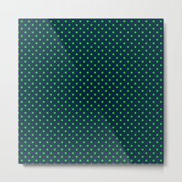 Mini Navy and Neon Lime Green Polka Dots Metal Print