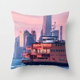 NYC Staten Island Ferry Throw Pillow