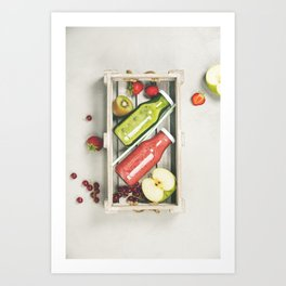 Green and red fresh juices or smoothies Art Print