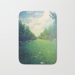 Apple Orchard in Spring Bath Mat