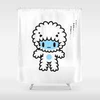 yeti Shower Curtains featuring yeti yeti yeti.... by Ziqi