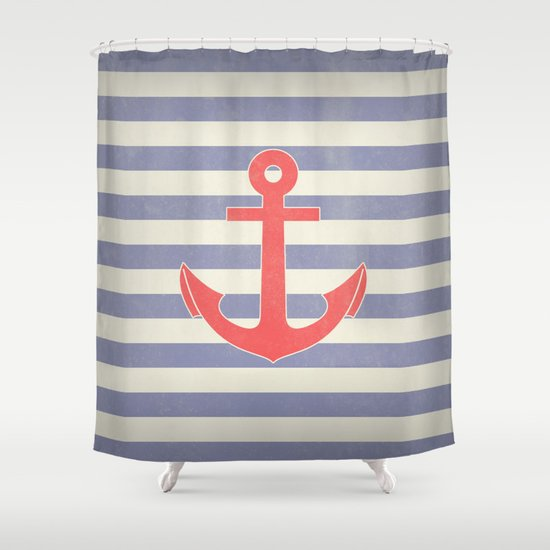 Vintage Aqua Marine Red Anchor Print Shower Curtain By