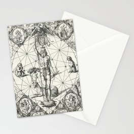 Vintage Zodiac and Elements Chart, Year 1597 Stationery Cards