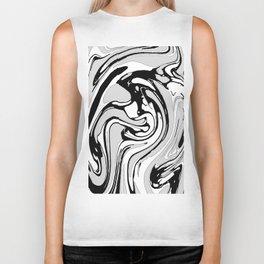 Black, White and Gray Graphic Paint Swirl Pattern Effect Biker Tank