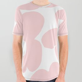 Large Baby Pink Retro Flowers on White Background #decor #society6 #buyart All Over Graphic Tee