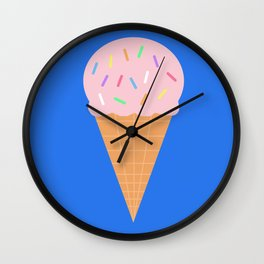 Sweet Ice cream cone with blue background Wall Clock