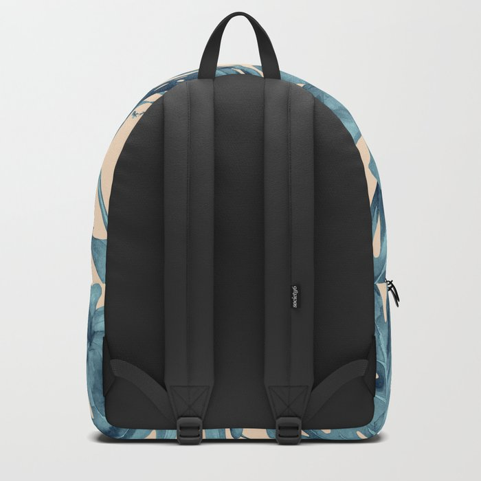 Island Vacay Hibiscus Palm Pale Coral Teal Blue Backpack