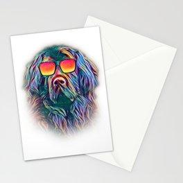 Newfoundland Neon Dog Sunglasses Stationery Cards