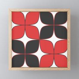 Mid-Century Modern Art - Flower Pattern Black Red Framed Mini Art Print