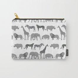 Safari animals minimal grey and white zebra giraffe cheetah hippo rhino nursery Carry-All Pouch