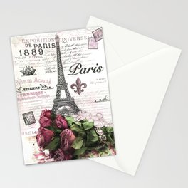 Paris Eiffel Tower Pink Roses French Script Wall Art Home Decor Stationery Cards