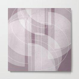 Abstract Semi Circle Design in Musk Mauve Metal Print
