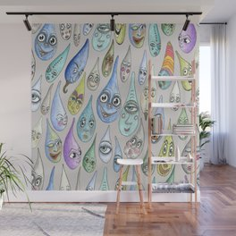 raindrops with personality, cool light gray grey Wall Mural