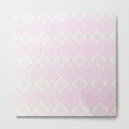 Vintage pastel pink white floral mandala pattern Metal Print
