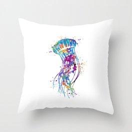 Jellyfish Colorful Watercolor Art Gift Ocean Art Throw Pillow