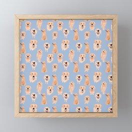 Golden Retrievers on Blue Framed Mini Art Print