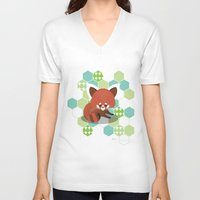 red panda V-neck T-shirts featuring Red Panda by Steph Dillon
