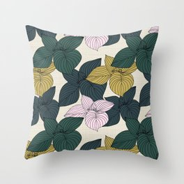 Jungle Summer Floral and Texture Throw Pillow