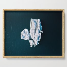 Lone, minimalist Iceberg from above - Landscape Photography Serving Tray