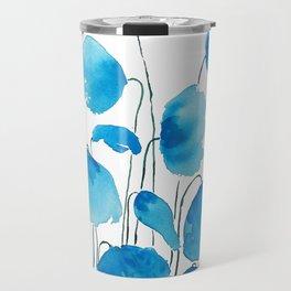 blue poppy field watercolor Travel Mug