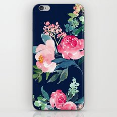 Navy and Pink Watercolor Peony iPhone & iPod Skin