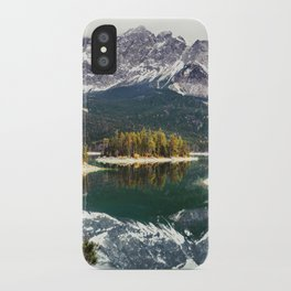 Green Blue Lake, Trees and Mountains iPhone Case