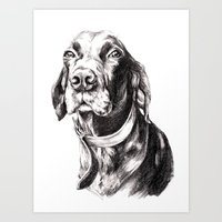 charlie Art Prints featuring Charlie by Hana Robinson