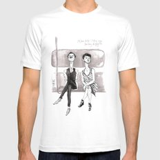 F-Train Snobs by Kat Mills White MEDIUM Mens Fitted Tee