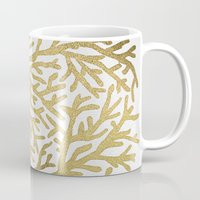 coral Mugs featuring Gold Coral by Cat Coquillette