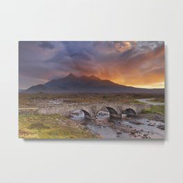 Sligachan Bridge and The Cuillins, Isle of Skye at sunset Metal Print