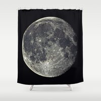 the moon Shower Curtains featuring Moon by Pete Baker