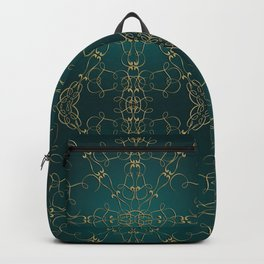 Gold Teal Mandala Backpack