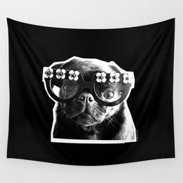 PUG SUKI - FLORAL SPECS - BLACK AND WHITE Wall Tapestry