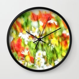 The Colors Of Spring On A Sunny Day Watercolor Wall Clock