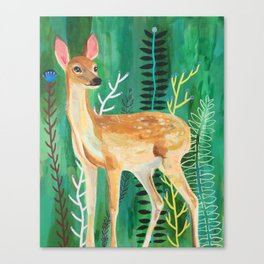Painted Deer by June Jewell Canvas Print