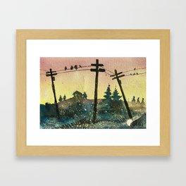 Birds on Wire Framed Art Print