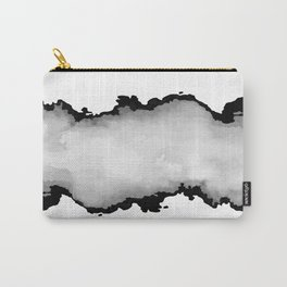 White Gray and Black Monochrome Graphic Cloud Effect Carry-All Pouch