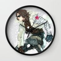 the winter soldier Wall Clocks featuring winter soldier by MacheteJo