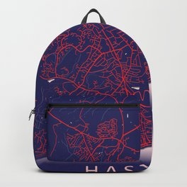 Hastings, England, Blue City Map Backpack