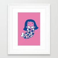 the little mermaid Framed Art Prints featuring Little mermaid by tee and toast