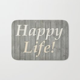 Happy Life Letters Shabby Style Poster Bath Mat