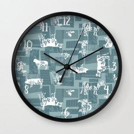 Farm Animals - Blue Wall Clock