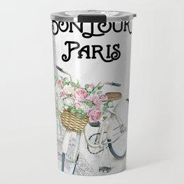 Vintage Bicycle Bonjour Paris Travel Mug