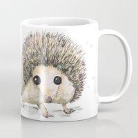 hedgehog Mugs featuring Hedgehog by Bwiselizzy