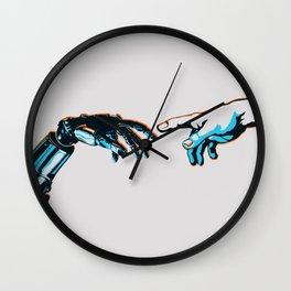 Creation of Man 2.0 Classic Michelangelo Robot Hand Art Print Wall Clock